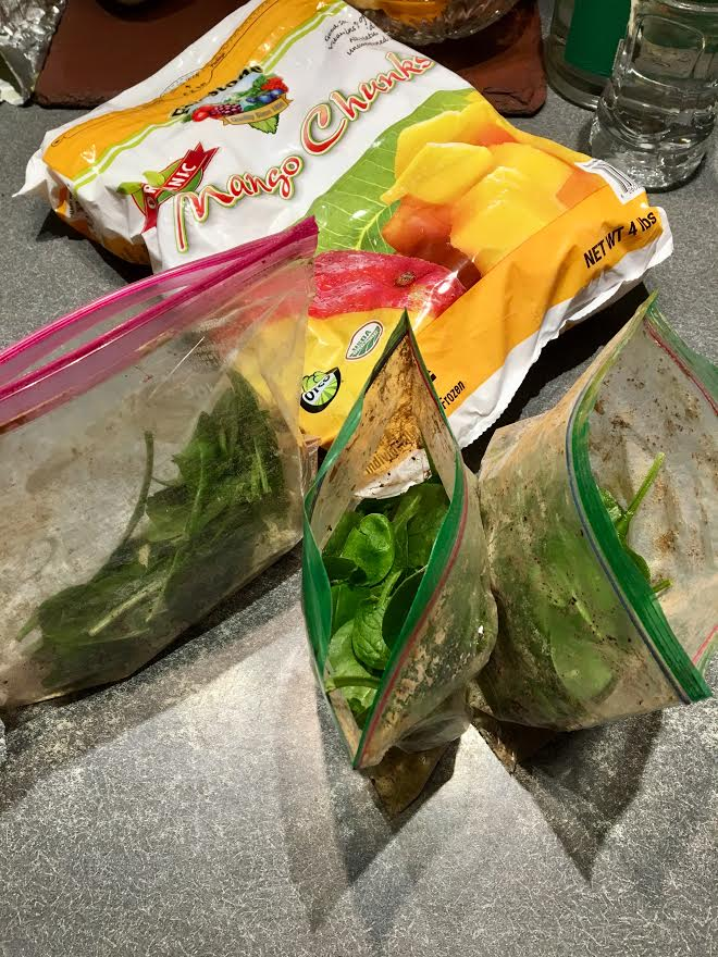 3 bags of meal prepped smoothies on the counter next to a frozen bag of mango.