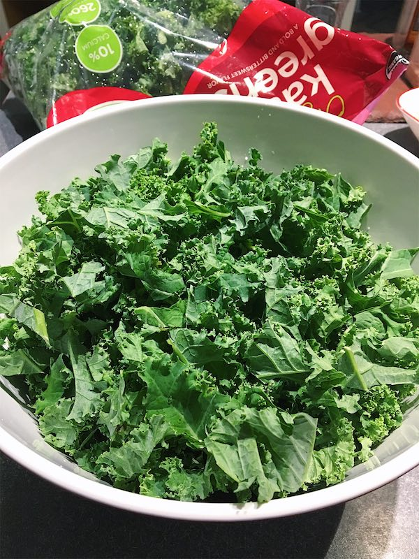 A large bowl of raw kale