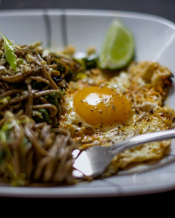 Close up shot of a fried egg next to stir-fried soba noodles on a white plate.