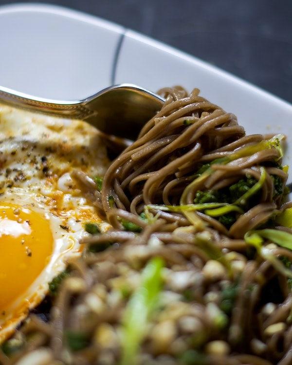 Up close shot of soba noodles on a fork.