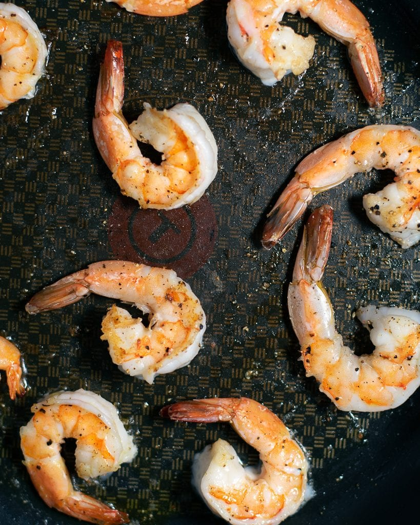 Seared shrimp in a skillet
