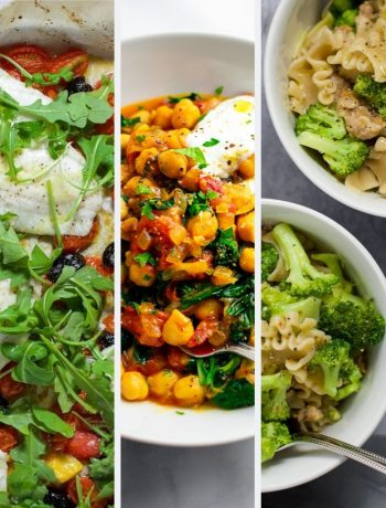 3 healthy dinners side by side in one photo