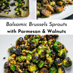 Three images of balsamic brussels sprouts with parmesan and walnuts for Pinterest