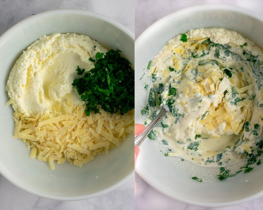Two bowls with ricotta filling- ricotta, heavy cream, parsley, and parmesan cheese