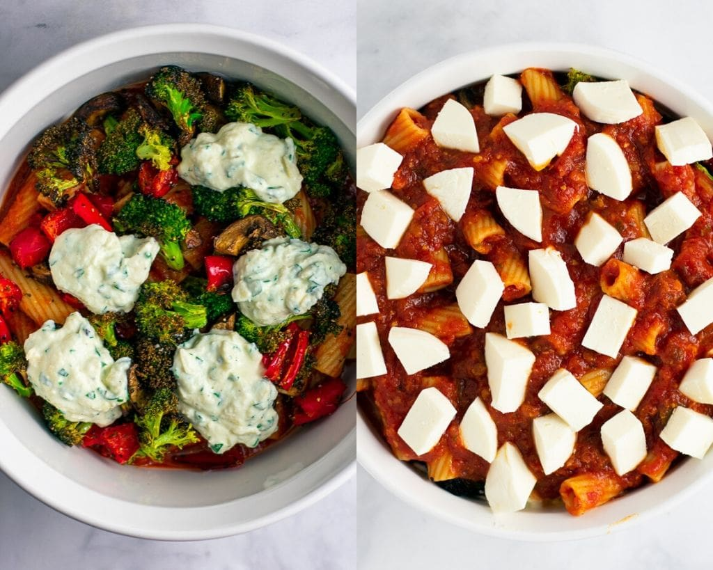 Layers of baked rigatoni with roasted vegetables in a white dish.