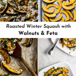 3 images of Roasted Winter Squash with Walnuts & Feta for Pinterest