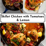 3 images of skillet chicken with tomatoes for Pinterst