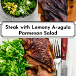 3 images of Steak with Arugula Salad for Pinterest