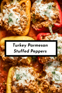 six turkey parmesan stuffed peppers in a baking dish with text for Pinterest