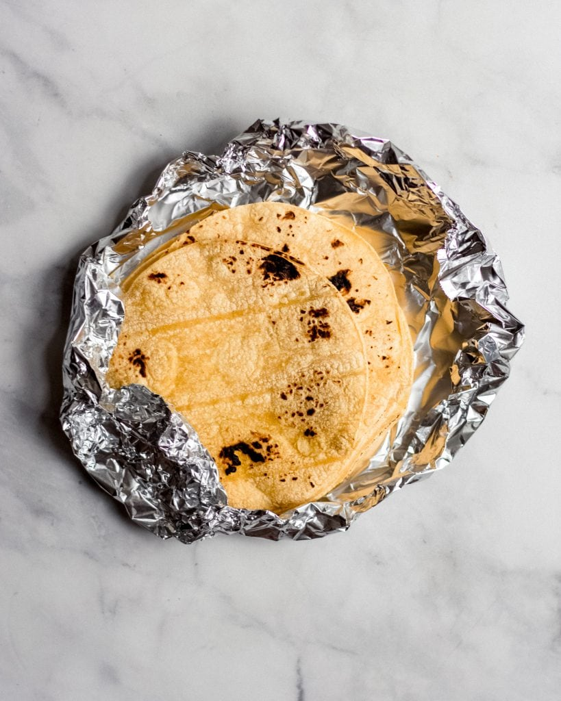 toasted tortillas in tin foil
