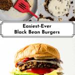 3 photos of black bean burgers for Pinterest