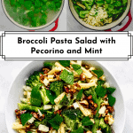 3 photos of broccoli pasta salad for Pinterest